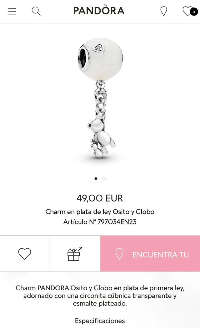 Charm  Pandora  En Plata De Ley Osito Y Globo De Segunda