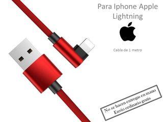 Iphone cargador acodado 90 grados rojo