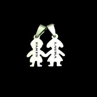 COLLAR COLGANTE NIÑO Y NIÑA EN ACERO INOXIDABLE