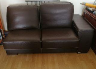 Sofá con chaise longue piel marrón