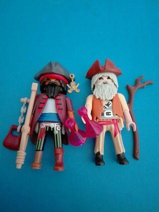 Playmobil 2 piratas borrachos marinero barco isla