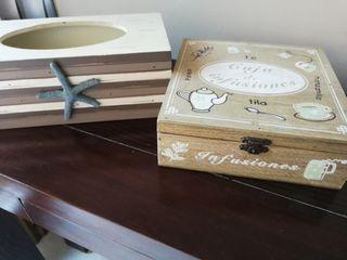 cajas de madera para infusiones y pañuelos papel