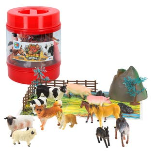Bote con animales de granja