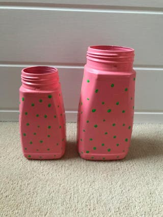 X2 pink and green spotted jar