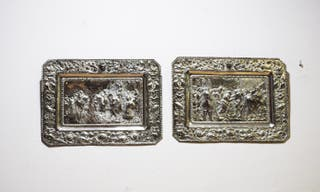 Antiguos platos de latón plateado