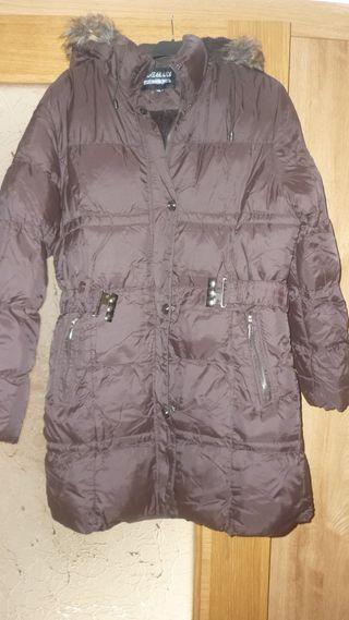 abrigo tipo plumifero marron mujer xl con capucha