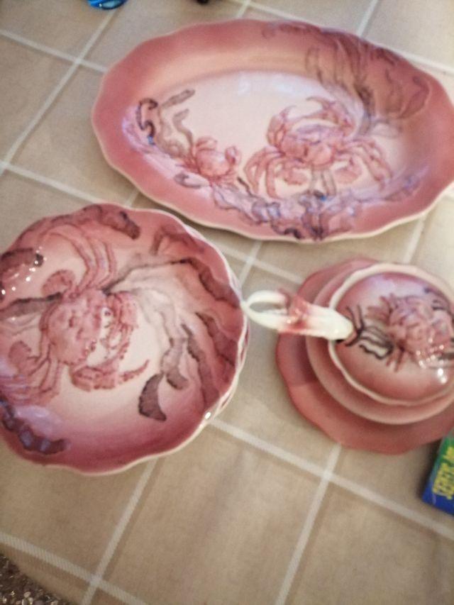6 platos originales, salsera y bandeja a juego