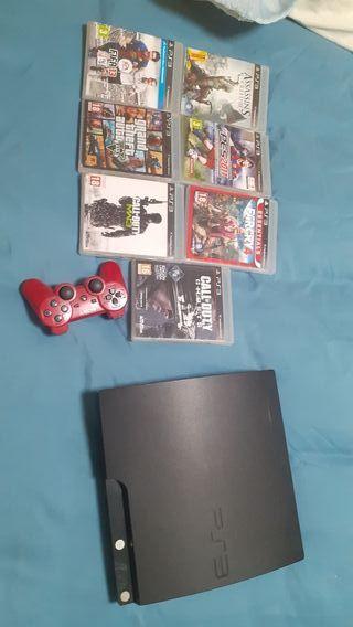 PS3 + mando y juegos