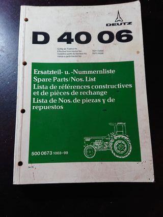 CATALOGO RECAMBIOS ORIGINAL TRACTOR DEUTZ D 4006