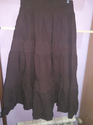 Falda marrón larga. Talla XXL