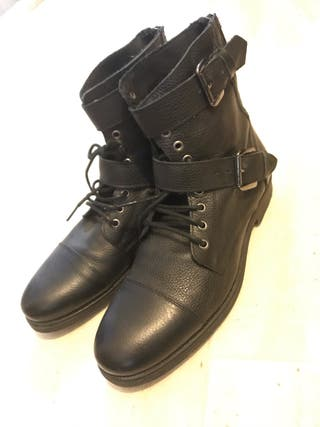 river island black leather buckle biker boots