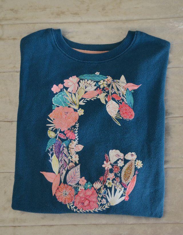 Jersey azul con flores y lentejuelas