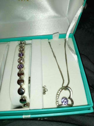 silver plated necklace and bracelet set