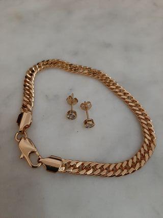 vendo pendientes de oro de 14 k y pulsera