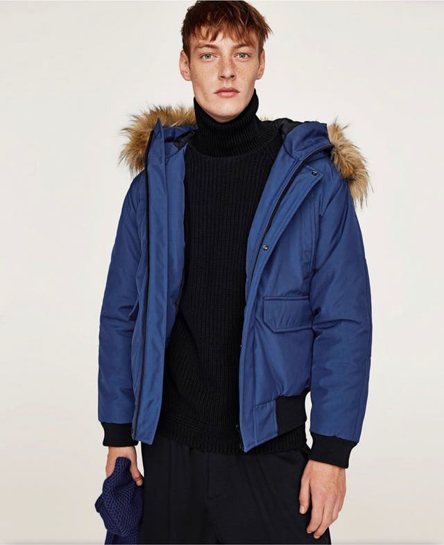 Zara Basic Quilted Jacket Bluish-size L