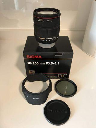 Objetivo Sigma 18-200, F3.5-6.3