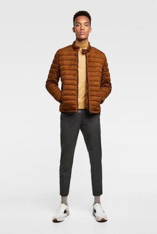 ZARA Padded suede jacket-size L