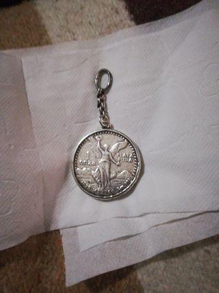 moneda 1 Oz de plata en llavero