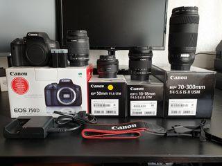 Canon750D. Objetivos:(10-18)(18-55) (50)(70-300)