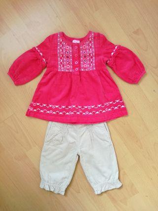 Ropa bebe niña 6-12 m. Vestido blusa pantalon