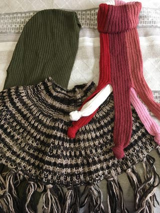 Lote de bufanda, poncho y braga al cuello