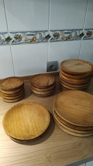 Pack platos de madera para pulpo