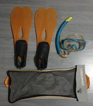 2 Kits aletas gafas y snorkel tallas 37-39 y 45-47