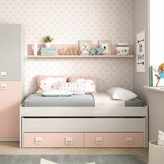Cama nido + estanteria juvenil rosa 810346. Nuevo