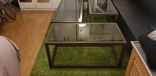 2 medium glass coffe table and a big one