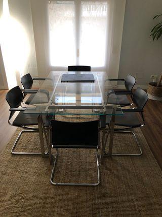 Mesa, juego de 6 sillas y librería