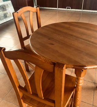Mesa extensible de madera maciza con 4 sillas