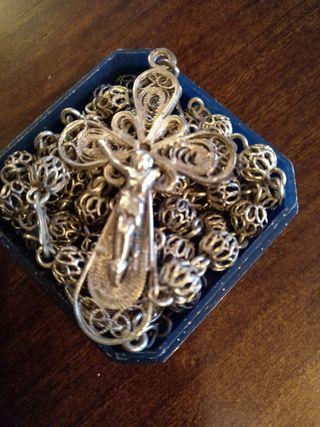 rosario de plata antiguo