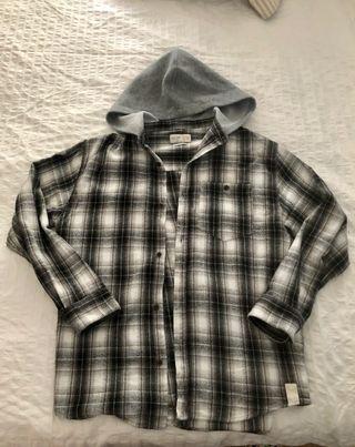 Camisa de cuadros con capucha chico