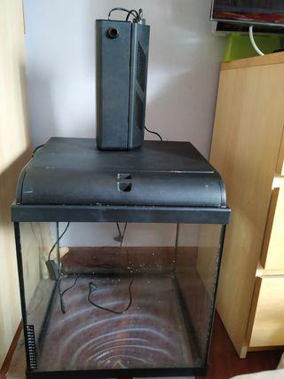 Acuario con filtro,calentador y lampara