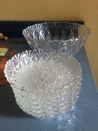 Juego cristal fuente y 6 cuencos
