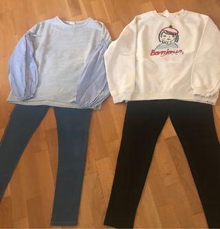 2 conjuntos leggins + 2 sudaderas.