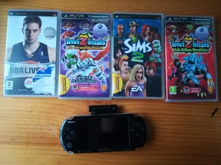 psp con juegos, camara y tarjeta SD