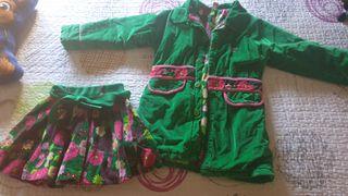 conjunto abrigo y falda talla 4