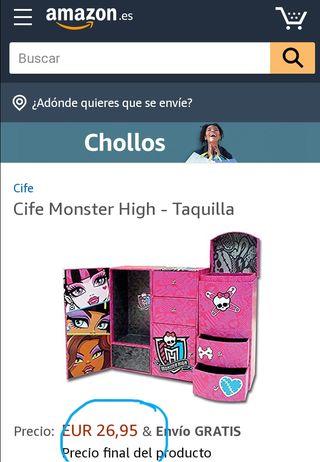 taquilla joyero monster high