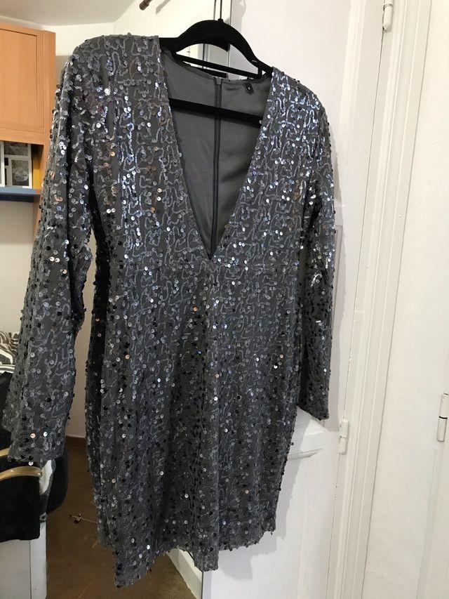 Vestido gris SHEIN lentejuelas M