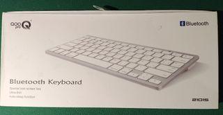 Teclado Bluetooth, Plata y Blanco QOOPRO 21015