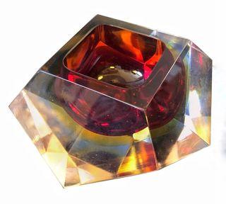 Cristal de Murano Sommerso rojo de Seguso, años 70