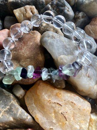 Bracelet en cristal de Roche et fluorite