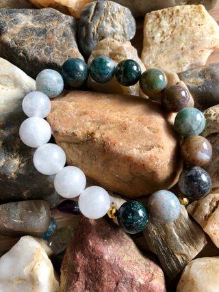 """Bracelet """"Énergie"""" en agate indienne et quartz"""