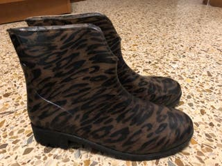 Botas de agua estampado leopardo