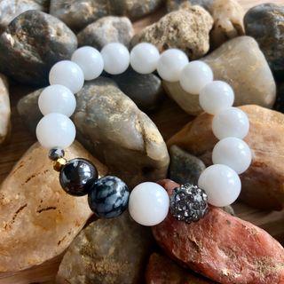 Bracelet en quartz, onyx et hématite