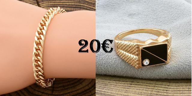 pulsera+anillo de hombre chapados en oro
