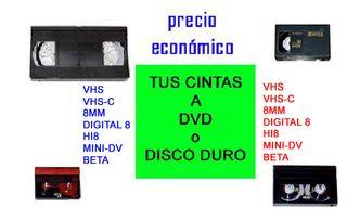 PASO CINTAS DE VIDEO VHS MINI-DV 8MM HI8 BETA