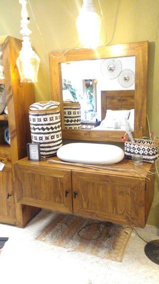 Mueble baño madera rústico
