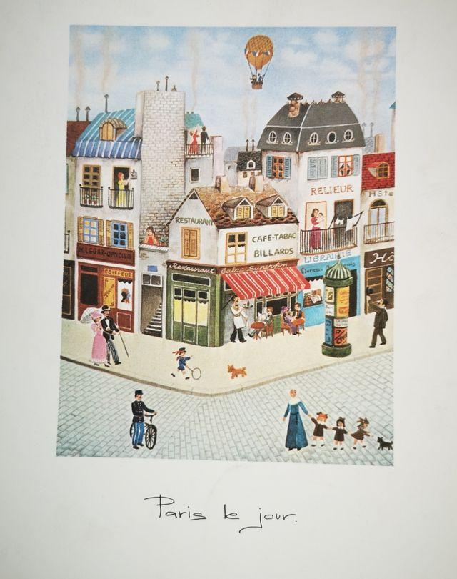 Lámina dibujo antiguo de las calles de Paris